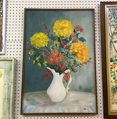"""Floral Still Life Painting   22.5"""" Wide x 32.5"""" High   $110  Eclectic Treasures Booth #8279  Lula B's  1010 N. Riverfront Blvd. Dallas, TX 75207  Like us on Facebook: http://www.facebook."""