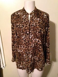 Womens Cotton Express Leopard Animal Print Pull Over Rayon Blouse Top Large  $19.99 #animalprint #leopard #sexycareer