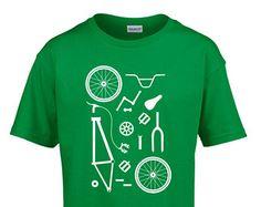 BMX Bike Parts Kids Childrens Childs Cotton T-Shirt Retro Bicycle Parts Bike Shop Mechanic Cycling Clothing  NEW
