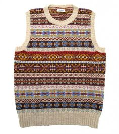 Sleeveless Shetland Wool Fairisle Crew Neck Pullover Natural ground with wine, blue, grey, lilac, dull gold and red Code: YW71.90085.005 £110.00