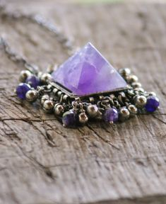 Pyramid Amethyst Necklace Kuchi Necklace Healing Stone Purple | Etsy Beach Jewelry, Photo Jewelry, Unique Jewelry, Shell Earrings, Shell Necklaces, Amethyst Stone, Purple Amethyst, Amethyst Healing Properties, Amethyst Necklace