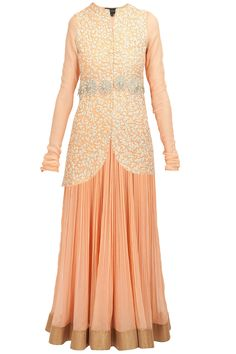 Peach embroidered jacket wth anarkali available only at Pernia's Pop-Up Shop.