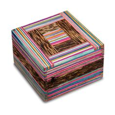 Multi Stripe Box made from Papri Joint Wood $14.95 via Oxfam Shop