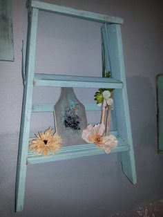 Check out this item in my Etsy shop https://www.etsy.com/listing/196988188/mini-wooden-ladder-shelf-in-turquoise