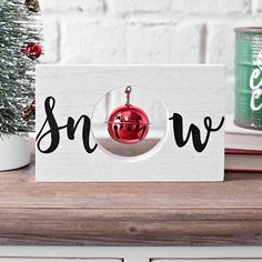 Add some festive flair with our Snow Wooden Word Block with Bell! Place this word block on your shelves or coffee table to finish off your Christmas decor. Wooden Christmas Decorations, Christmas Signs Wood, Christmas Crafts For Gifts, Christmas Projects, Christmas Design, Simple Christmas, All Things Christmas, Winter Christmas, Crochet Christmas