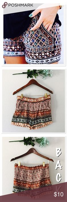 Festival/ Boho Shorts In great condition! Super cute waistline detailing! Two front pockets. The look like tiny mirrors. Lightweight 100% cotton. Inseam 2 in, outseam 12 in,  rise 10 in,  waist 14.5 flat, leg opening 12 in flat. Angie Shorts