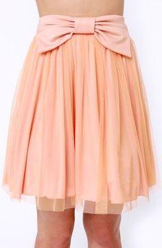 peachy bow skater skirt