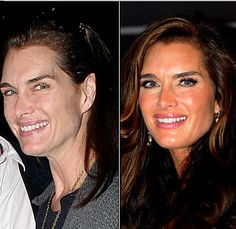 Celebrities Without Makeup: The Real Face of Fame Brooke Shields Celebrities Before And After, Celebrities Then And Now, Brooke Shields, Celebrity Gallery, Celebrity Look, Power Of Makeup, Beauty Makeup, Celebs Without Makeup, Makeup Before And After