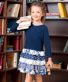 Loving this Petite Amelia Navy & White Floral Tiered Dress - Toddler & Girls on #zulily! #zulilyfinds