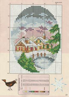 Snowy Cards • 1/2 Church and Bridge