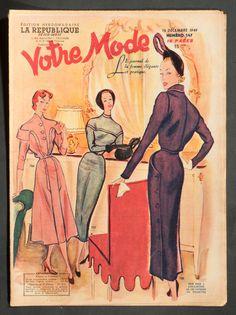 'VOTRE MODE' FRENCH VINTAGE NEWSPAPER 15 DECEMBER 1949 | eBay