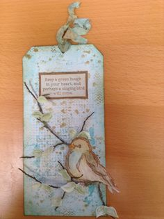 Tag with Tim Holtz Layering Stencils & DIs and Dina Wakeley's Scribbly Birds stamps on Sticky back canvas