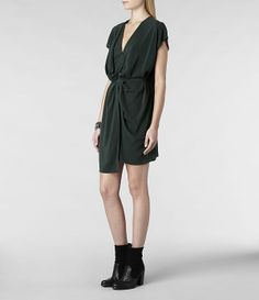 Femme Dee Dee Dress (Bottle Green) | ALLSAINTS.com