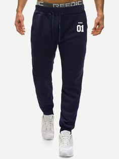 195cc016 Men Letter Print Drawstring Waist Pants Print#Letter#Men Dress Pants, Jeans  Pants