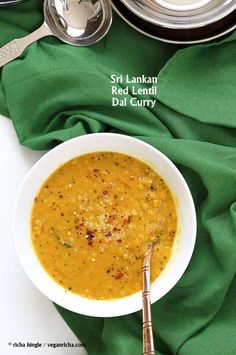 Sri Lankan Red Lentil Curry: Creamy Dal Curry Spiced with fenugreek seeds, cinnamon, black peppercorns. Curry Recipes, Vegetarian Recipes, Cooking Recipes, Healthy Recipes, Curry Dal Recipe, Dhansak Recipes, Vegan Lentil Recipes, Delicious Recipes, Vegan Curry