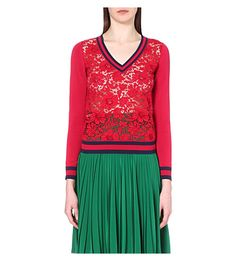GUCCI V-Neck Cotton-Blend And Lace Top. #gucci #cloth #tops