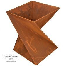 Helix Shape Rustic Outdoor Open Fire Pit - 203306 For Sale, Buy from Outdoor Fire Pits collection at MyDeal for best discounts. Fire Pit Logs, Metal Fire Pit, Cool Fire Pits, Rustic Outdoor, Outdoor Fire, Fire Pit Materials, Fire Pit Designs, Log Burner, Easy Woodworking Projects