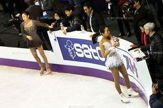 (L to R) Kim Yu-NA (KOR), Mao Asada (JPN), .March 16, 2013 - Figure Skating : .ISU World Figure Skating Championships 2013, Women's Official Training .at Budweiser Gardens, London, Canada. .(Photo by Daiju Kitamura/AFLO SPORT) [1045]