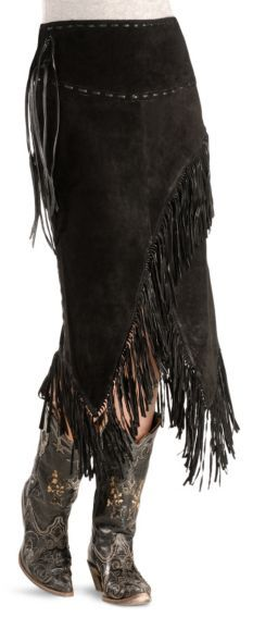 Asymmetrical Fringe Suede Leather Skirt - Sheplers