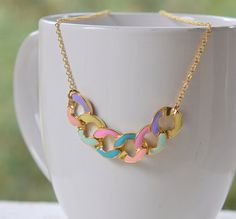 Modern Colorful Chain Statement Necklace in Gold.  Statement Necklace. Modern Jewelry.  Multi Color Statement Jewelry.  Modern. on Etsy, $42.00