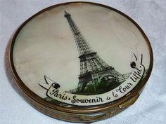 Vintage Paris Souvenir  De La Tour Eiffel Powder Compact Faux Tortoiseshell Back