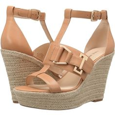 Nine West Jellia (Natural Leather) Women's Wedge Shoes ($103) ❤ liked on