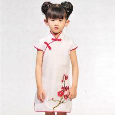 cheongsam for kids ..Chinese traditional dress Free shipping New girl's summer high quality elegant  cheongsam  $45.00