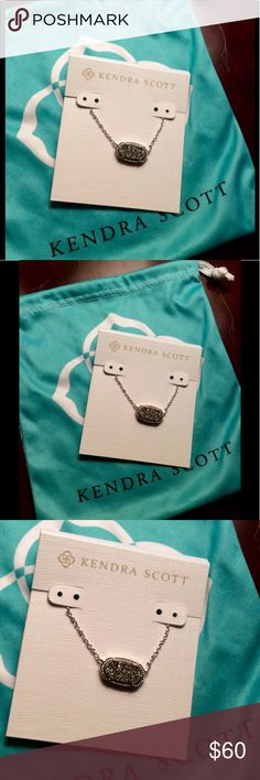 NWT Kendra Scott Elisa Platinum Druzy Necklace New with Tags Kendra Scott Elisa Platinum Druzy and Silver Pendant Necklace. Comes with jewelry pouch Kendra Scott Jewelry Necklaces