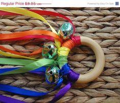 SALE Waldorf Toy Musical Hand Kite ROYGBV Rainbow by IndieBambinos, $8.06