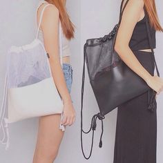 Black & White Mesh Leather Drawstring Bag by pingypearshop on Etsy
