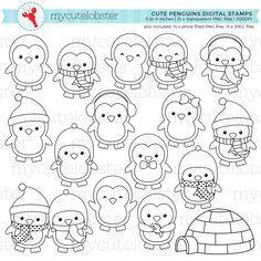 Cute Penguins Digital Stamps penguin outlines line art Pinguin Drawing, Doodles, Cute Penguins, Digi Stamps, Line Art, Clear Stamps, Doodle Art, Coloring Pages, Planner Organization