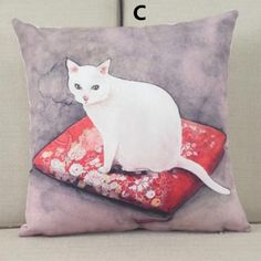 Cat throw pillow for home decoration cushions 18 in