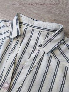 Cómo coser un cuello camisero en 8 pasos – Nocturno Design Blog Design Blog, Striped Pants, Sewing Hacks, Knitting, Lady, Pattern, T Shirt, Dresses, Ideas Para