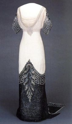 Worth 'Arlesienne' Gown - 1912-13 - Worn by Queen Maud of Norway - Silk, glass and metal