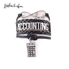 Little MingLou Infinity love Accounting Bracelet Calculator Charm leather wrap men bracelets & bangles for women jewelry