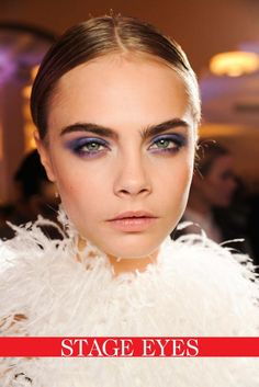 Experiment with colour shadows, stick on embellishments and artistic eyeliner for a dramatic nighttime look, as seen at Jason Wu.