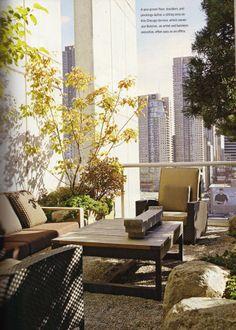 Japanese inspired garden on Chicago terrace; Hoichi Kurisu landscape