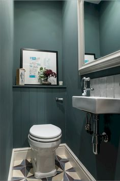 Design & styling by Imperfect Interiors at this lovely house in Tongue & Groove panelling, Fired Earth tiles & Farrow & Ball Inchyra Blue in the downstairs loo.uk Photos by Chris Snook Downstairs, Space Saving Toilet, Small Toilet Room, Small Bathroom Decor, Small Downstairs Toilet, Toilet Design, Bathroom Design Small, Bathroom Design, Bathroom Decor