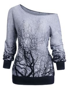 Tree Print Skew Neck Gothic Halloween Sweatshirt Cheapest and Latest women & men fashion site inc Teen Fashion Outfits, Grunge Outfits, Cute Fashion, Womens Fashion, Fashion Site, Grunge Dress, Female Fashion, Fashion Fashion, Trendy Outfits