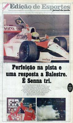 """""""Perfeição na pista e uma resposta a Balestre. É Senna tri """" - Jornal da Tarde, 1991 - Ayrton Senna"""