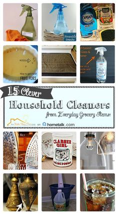 15 Clever Household Cleaners from Everyday Grocery Items | curated by 'The Make Your Own Zone' blog!