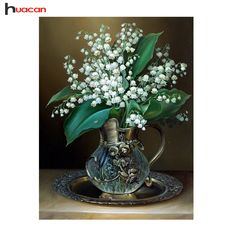 HUACAN 5D White Russia Flower Diamond Painting for Living Room Cross Stitch DIY Diamond Mosaic Popular Handmade Crafts F1333 #clothing,#shoes,#jewelry,#women,#men,#hats,#watches,#belts,#fashion,#style