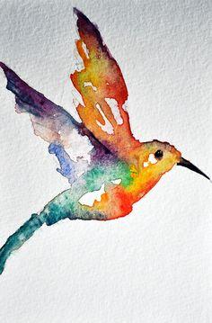 Hummingbird Original Watercolor Postcard 4x6 by PrismaticColours, $15.00