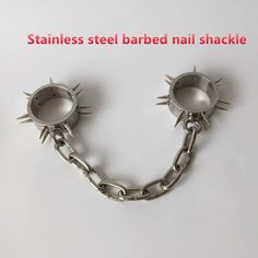 76.95$  Buy now - http://alifba.worldwells.pw/go.php?t=32742896653 - Stainless steel shackle with Barbed nail  chain bdsm bondage restraints toys the game fetish erotic toys adult sex toys for men