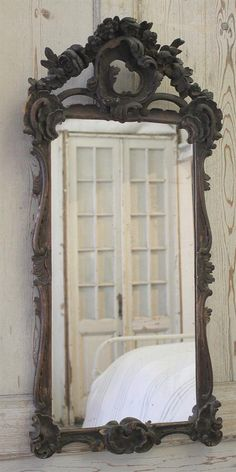 Antique French Rose Carved Mirror Original Finish from Full Bloom Cottage Old Mirrors, Vintage Mirrors, Mirror Inspiration, Mirror Ideas, Beautiful Mirrors, Look In The Mirror, Cozy Bedroom, My Dream Home, French Antiques
