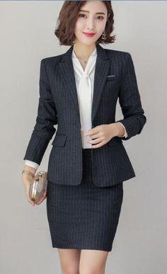 Business Women Skirt Suit Ladies Interview Clothes Formal Blazer Skirt Two Pieces Set Plus Size Work Uniforms Black skirt suits Navy Blue Suit, Black Suits, Fashion Jobs, Suit Fashion, Interview Suits, Interview Clothes, Black Skirt Suit, Plus Size Work, Work Uniforms