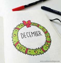 December monthly cover page idea - christmas wreath ❄☃ Bullet Journal December, Bullet Journal Art, Bullet Journal Inspiration, Bullet Journals, Journal Ideas, Cover Pages, Hand Lettering, Christmas Wreaths, Doodles