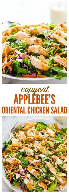 Copycat Applebee's Oriental Chicken Salad. A better homemade version of the original restaurant recipe anyone can make! Juicy oven fried chicken, fresh greens, crispy ramen noodles in a sweet and tangy oriental dressing. Recipe at wellplated.com | @wellplated