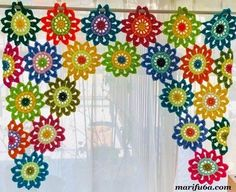 Crochet Curtain Pattern, Curtain Patterns, Crochet Flower Patterns, Crochet Blanket Patterns, Crochet Doilies, Crochet Flowers, Pattern Flower, Diy Crochet Curtains, Crochet Home