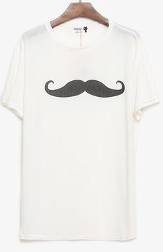 #White #Mustache #TShirt Just save this image and add it to your closet! http://wishi.me/?utm_source=Items_medium=Pinterest_campaign=StyleIt